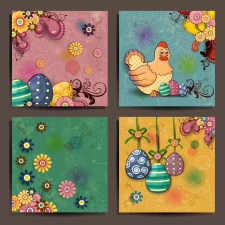 Four floral banners decorated with Easter eggs and hens on several levels Vector