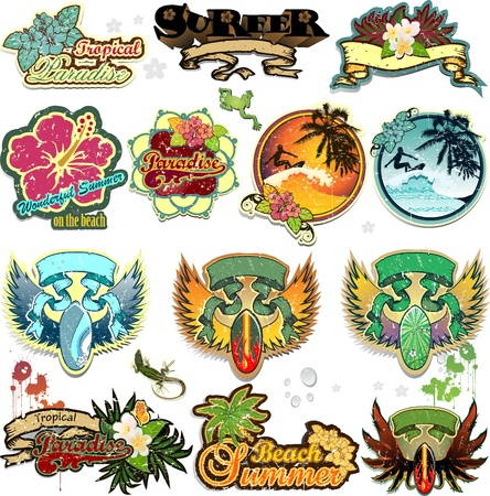 hawaii: Set of summer themed stickers with space for insert-written various levels-transparency blending effects and gradient