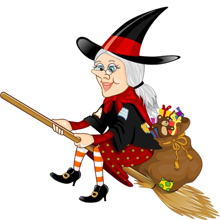 Character of the Italian popular imagination, good witch with lots of gifts flying on the broom