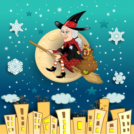 winter theater: Befana, a character in the tradition of Italian epiphany a witch on a broomstick with a sack full of gifts on background city landscape-transparency blending effects and gradient mesh