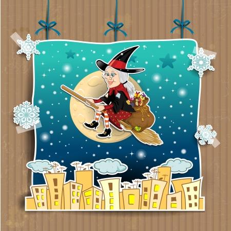 ベファーナ背景劇場の振り付け透明効果のブレンドにプレゼントの完全な袋をほうきで魔女をイタリアのエピファニーの伝統内の文字  イラスト・ベクター素材