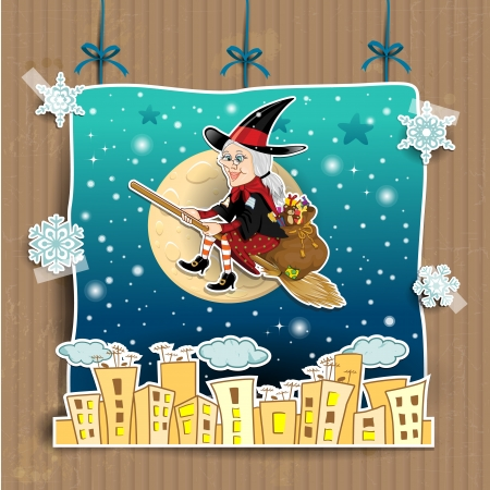 Befana, a character in the tradition of Italian epiphany a witch on a broomstick with a sack full of gifts on background theatrical choreography  transparency blending effects  Vector