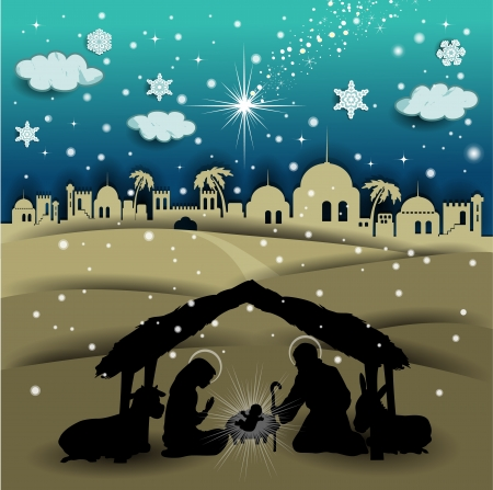 star of bethlehem: crib black silhouettes of landscape collage effect-transparency and blending effects gradient mesh Illustration