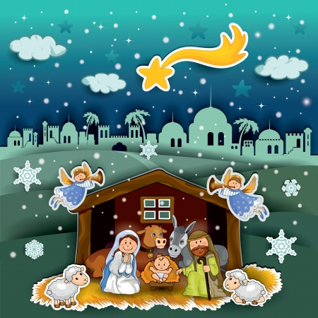 christmas nativity: Nativity of landscape collage effect - transparency and blending effects gradient mesh-EPS 10 Illustration