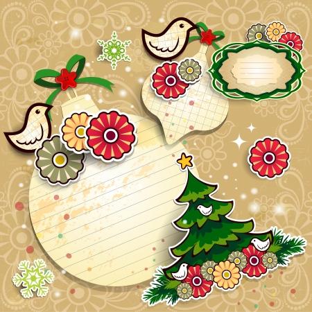 クリスマスの装飾コラージュ、ボール紙、木、鳥、花の効果、ライト透明とブレンドのエフェクト グラデーション メッシュ Eps 10 写真素材 - 18452313
