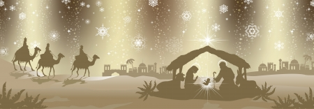 Nativity scene with the three kings gold-colored -Effects of transparent green background  fusion Illustration