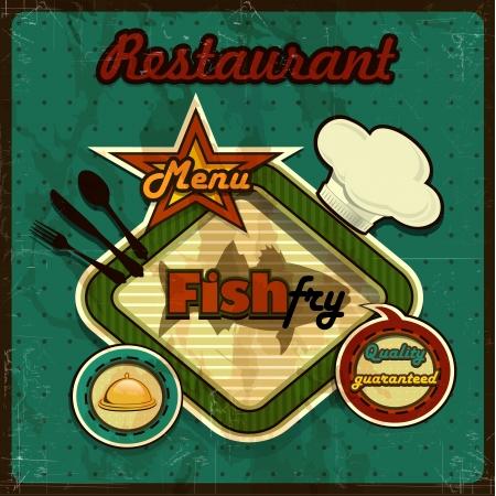 魚メニュー ビンテージ レトロいくつかレベル透明ブレンド効果やグラデーション メッシュ  イラスト・ベクター素材