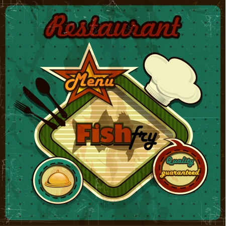 Fish menu vintage retro-several levels-transparency blending effects and gradient mesh  Vector