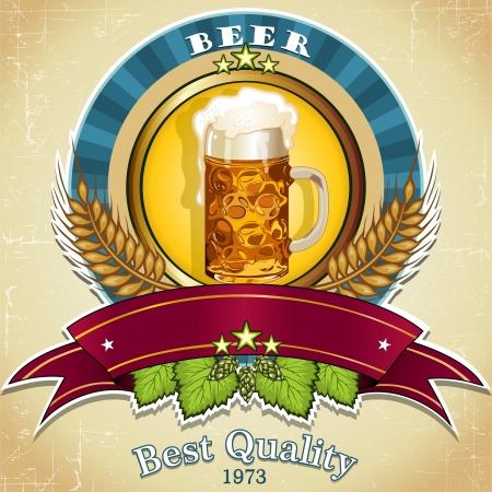 ビール バナー テキスト - 透明効果、グラデーション メッシュをブレンドを挿入するためのラベル 写真素材 - 18690718