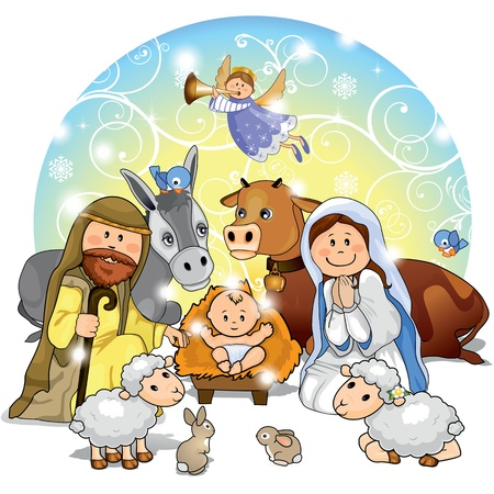 geburt jesu: Heilige Familie mit Tieren und Hintergrunddekoration-Transparenz und Blending-Effekte Verlaufsgitter-EPS 10