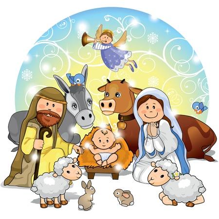 nacimiento de jesus: Sagrada Familia con los animales y las decoraciones de fondo, transparencia y mezcla de efectos de degradado de malla EPS 10 Vectores