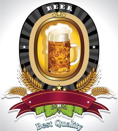 comida alemana: Etiqueta para la bandera cerveza para insertar su propio texto - efectos de fusi�n de transparencia y malla de degradado