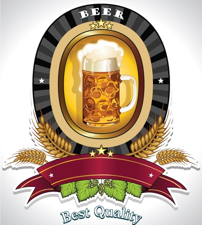 Label for beer banner to insert your own text--transparency blending effects and gradient mesh Vector