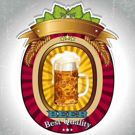 Label for beer enter your text, transparent effects, and gradient mesh-merger EPS 10 Vector