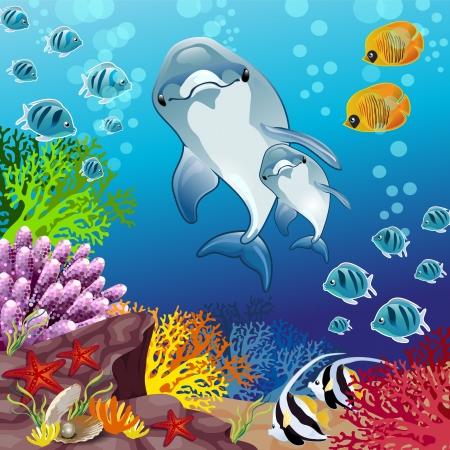 seestern: Delfini su sfondo Marino-Transparenz und Blending-Effekte Verlaufsgitter-EPS 10