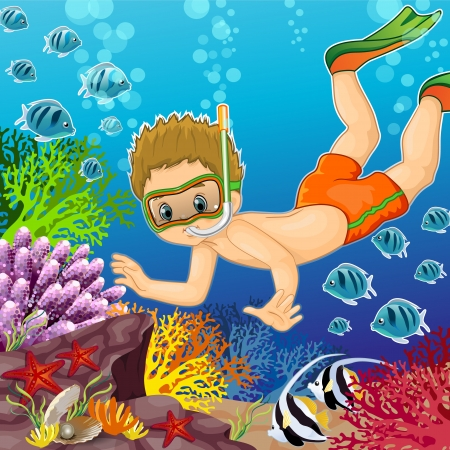 Boy snorkeling on the seabed-transparency and blending effects gradient mesh-EPS 10
