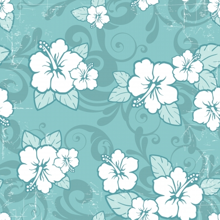 Tropical floral seamless distressed-EPS10 Vector