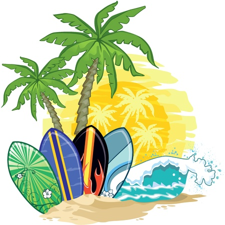 tabla de surf: paisaje tropical, palmeras y tablas de surf