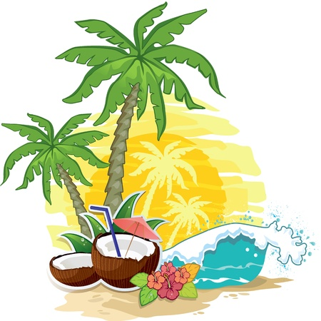 sunset tree: tropical landscape with palm trees and coconut drink Illustration