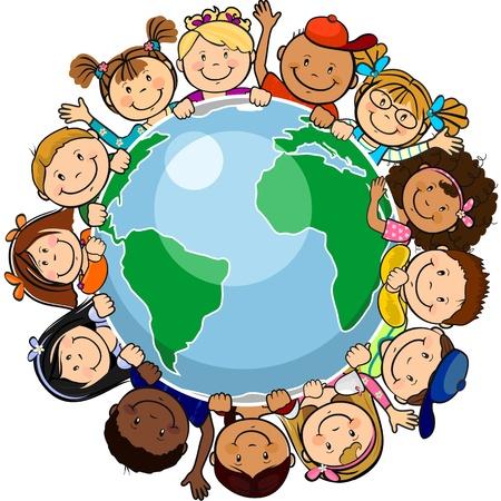 paz mundial: El mundo los ni�os en un c�rculo en el mundo-solo nivel sin los efectos de transparencia, EPS 8