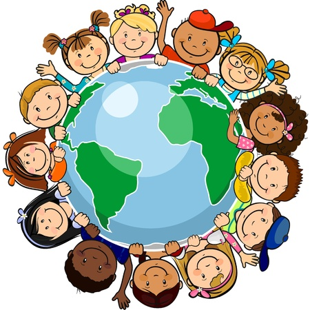 The world's children in a circle in the world-single level-without the effects of transparency-EPS 8 Vector