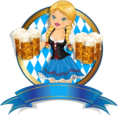 octoberfest: Waitress Bavaria wit beer mugs decorated