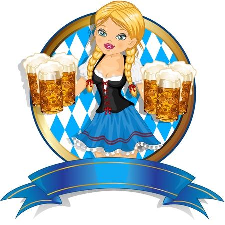 Waitress Bavaria wit beer mugs decorated