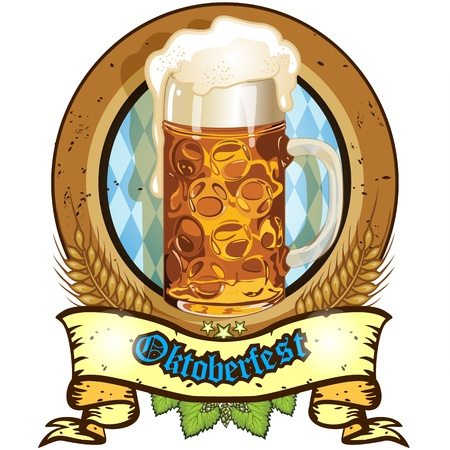 comida alemana: Bandera oval con la taza de cerveza Bavaria-transparencia y mezcla de efectos de gradiente de malla EPS 10