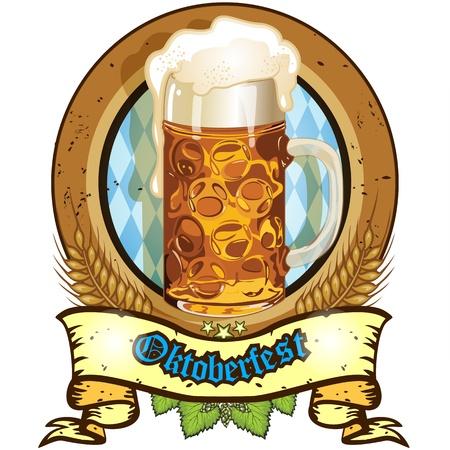 Oval banner with beer mug Bavaria-transparency and blending effects gradient mesh-EPS 10 Illustration