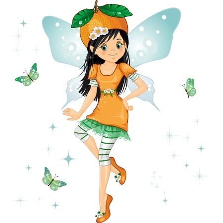 little girl dress: Character of fantasy fairy with orange on his head as a hat with flying butterflies-eps 10 Illustration