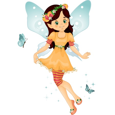 Character of fantasy fairy with peach on his head  with flying butterflies-EPS 10