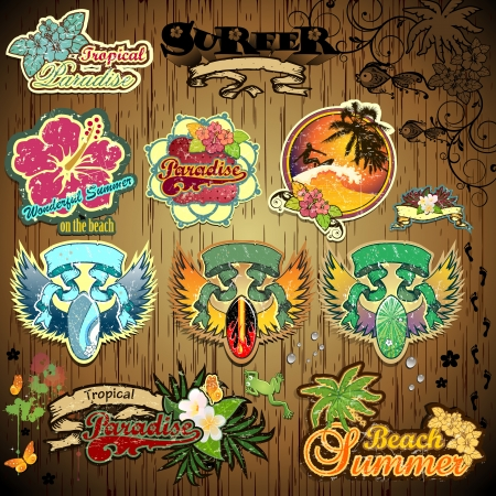 Set of summer themed stickers with space for insert-written various levels-transparency blending effects and gradient mesh-EPS 10 Vector