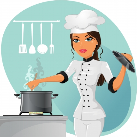cookers: Woman cooking chef in white uniform-EPS10