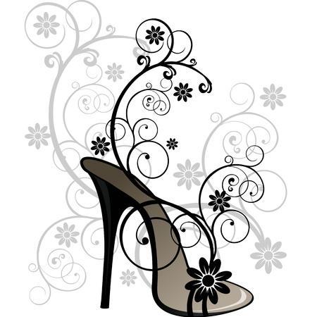 tacones negros: Sandalia con motivos florales estilizados sobre fondo blanco