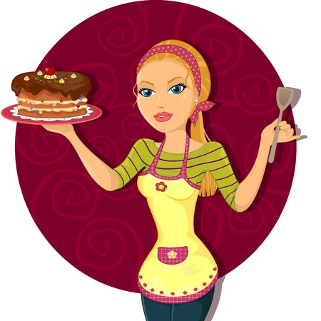 Housewife preparing a cake-Gradient mask-Effect of transparency-Eps10 Vector