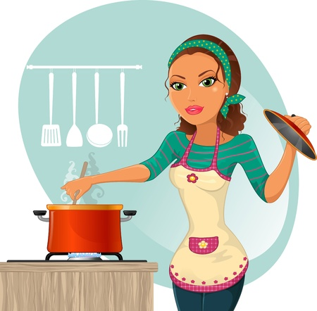 Housewife cooking-Gradient mask-No effect of transparency-Eps 8 Vector
