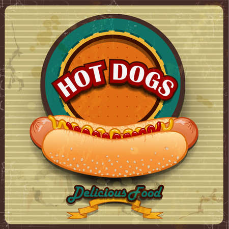 pane: Vintage Hot dogs label vector illustration-transparency blending effects and gradient mesh