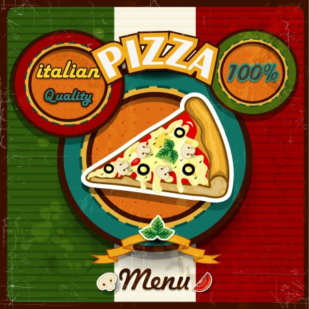 pizza menu vintage style of the Italian flag-several levels-transparency blending effects and gradient mesh Vector