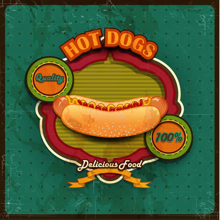Vintage Hot dogs label illustration Vector