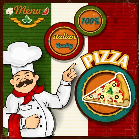 pizzeria label: Italian chef  pizza  cartoon comic menu-transparency blending effects and gradient mesh