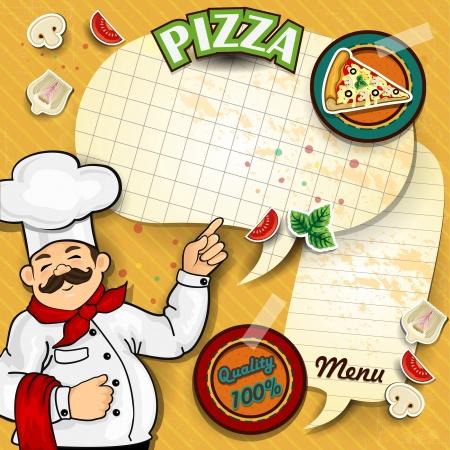chef caricatura: Cocinero con cómico de pizza donde se puede escribir el menú transparencia efectos y malla de gradiente de mezcla