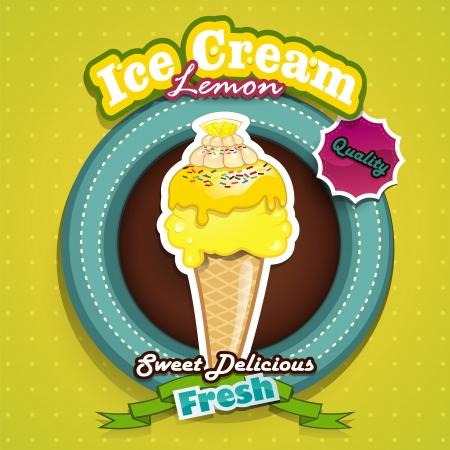 vettoriale: Illustrazione vettoriale di limone ghiaccio effetti crema-trasparenza-fusione e gradiente maglie
