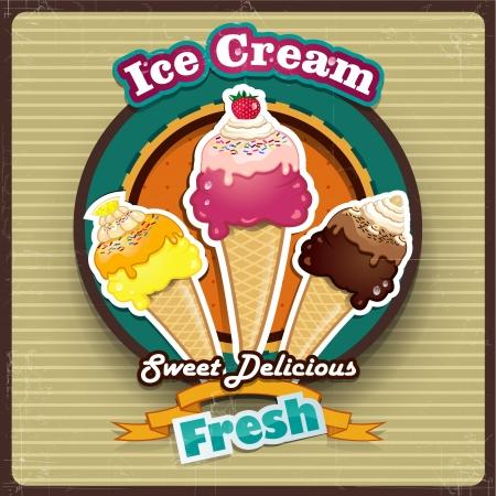 gelato: Illustrazione vettoriale di gelato effetti coni-trasparenza-fusione ed effetti maglia-grunge, pendenza può essere rimosso