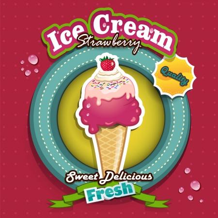 vettoriale: Illustrazione vettoriale di Strawberry ice cream effetti-trasparenza-fusione e gradiente maglie- Illustration