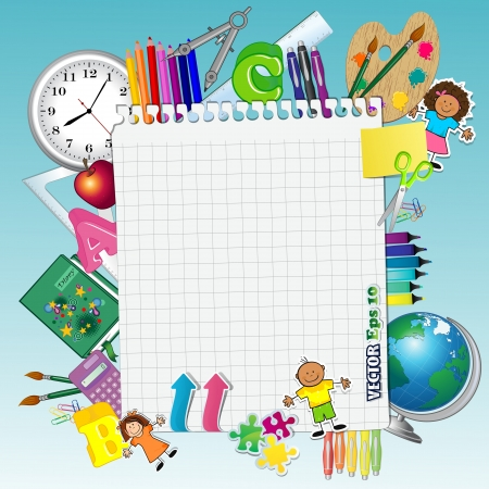 child studying: Sheet of paper with school tools-transparency blending effects and gradient mesh Illustration