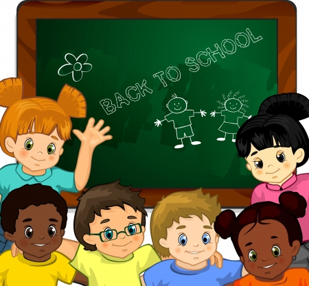 Children in the classroom with blackboard-transparency blending effects and gradient mesh  イラスト・ベクター素材