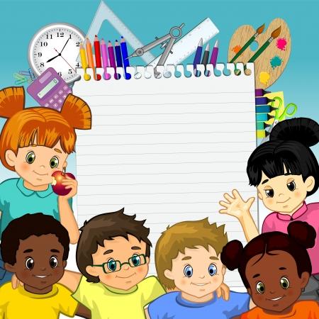 retour: Kinderen rond een vel papier en hulpmiddelen voor school-transparantie mengen gevolgen en verloopnet