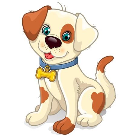 perro caricatura: Collar de perro sentado con efectos en forma de hueso de la transparencia de mezcla y el gradiente de malla Vectores