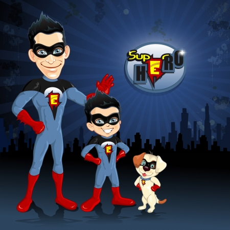 dad son: Dad son and dog superhero with city backdrop in the distance-transparency blending effects and gradient mes