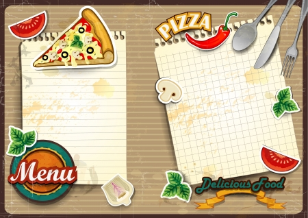 pizza ingredients: Menu for pizza with sheet of paper where you write the ingredients folding -Vintage effects can be removed-transparency blending effects and gradient mesh-EPS10 Illustration